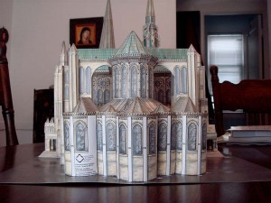 The chevet, or rear of the cathedral August 22, 2007. Now comes the really fun part, cutting out all the complex curves of the flying buttresses and gluing them in. But, then this model will be done.