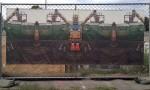 A construction banner at Bergamot Station