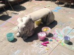 A bunny bench in the backyard