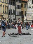 Woman feeding the flying rats