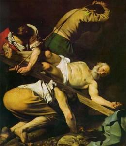 Crucifixion of St. Peter, Caravagio, located in San Maria del Popolo