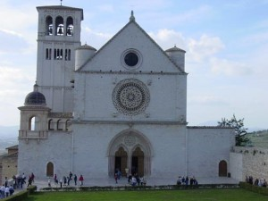 The facade of the upper church at Basilica di San Francesco