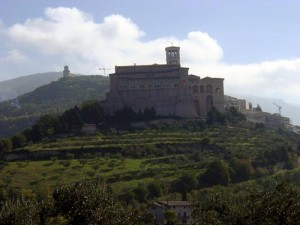 The Basilica viewed leaving Assisi