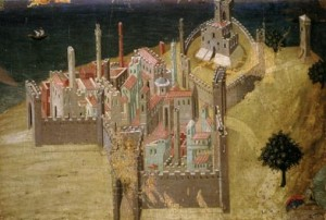 A painting of a city (Citta) by Sassetta from the Pinacoteca