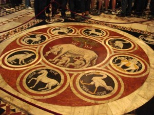 A zodiac from the floor of the Duomo