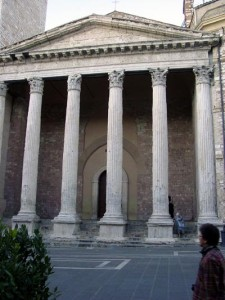 The facade of the Temple of Minerva