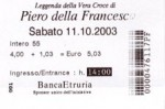 The back of the ticket for the della Francesco frescos