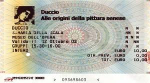 The ticket for the Duccio show