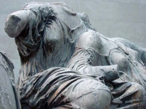A detail from the Elgian Marbles, the remains of the Parthenon's south pediment