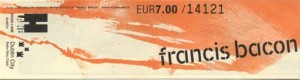 The ticket to Francis Bacon's Studio (front)