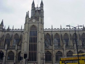 A side view of the Abbey in Bath