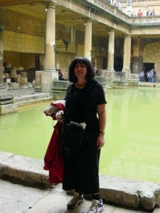 Here's Aviva standing in front of the baths - the lower part goes back to Roman times