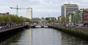 The view of the Liffey River north from a pedestrian bridge