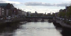 The veiw south of the Liffey from the same bridge