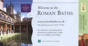 The ticket for the Baths in Bath (front)