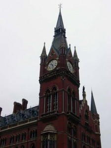 The spire and clock of St. Pancras station