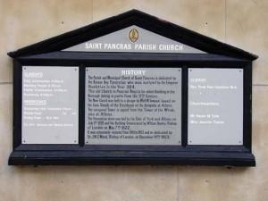 The plack describing St. Pancras church