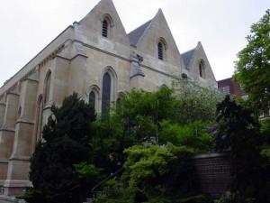 The Temple Church facade from across the master's garden