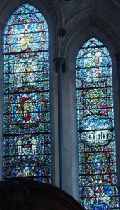 Two of the front stained glass windows