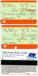 Examples of the train tickets