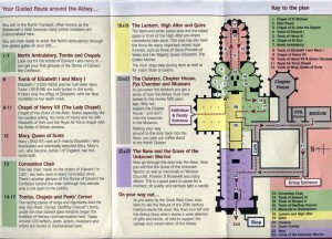 The key things to see within the Abbey, copied from the brochure