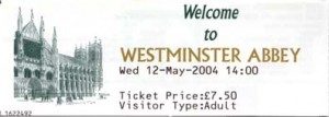 The ticket for entrance to Westminster Abbey (front)