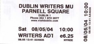 The ticket for the Writer's Museum (front)