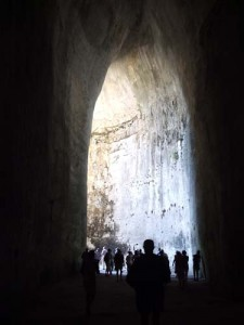A tunnel dug into the rock near the theatre