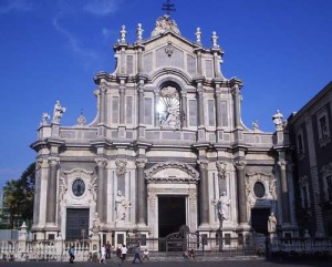 A view of the facade of the Duomo in Catania