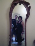 Aviva and I in a mirror in the open apartment in Casa Mila