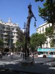 A streetlight designed by Gaudi outside Casa Mila