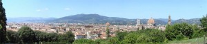 A panorama of Florence from the Boboli Gardens - note the Duomo and the tower from the Palazzo Vechio to the right.