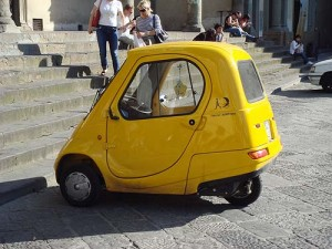 Aviva loves the small European cars - this one is a two seat electric car