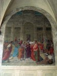 Two of the many frescoes on the walls of the square