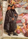 """Detail from """"Stories of the Antichrist"""" showing Signorelli's self portrait next to Fra Angelico"""
