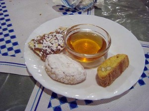 A traditional Tuscan desert - cookies with sweet wine for dipping - very tasty!
