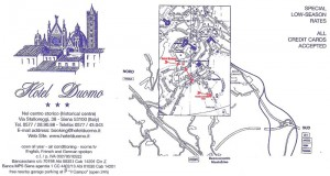 The header for the stationary for the hotel, indicating its location in Siena