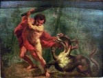 A painting of the killing of the hydra