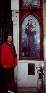 Bob In Venice with a votive outdoor painting