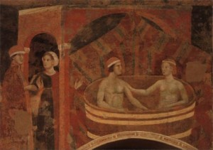 A fresco of the newly-married couple sharing a bath