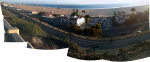 A panorama of the Santa Monica beach from the park on the overlooking escarpment