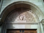 A detail over one of the doors at Royce Hall