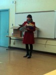 Our school representative describing our upcoming day