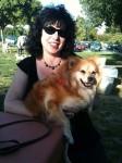 Aviva with a pomeranian at the dog park