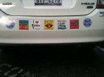 The bumper on the Bad Girlz of Texas car - the stickers are hilarious