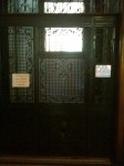 Ironwork at the entrance to the elevator