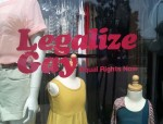 On the window of American Apparel