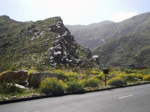 Tahquitz Canyon, with the ranger station in the lower right corner.