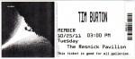 The ticket to the Tim Burton show