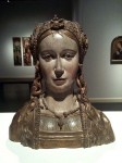The face of the wooden woman bust